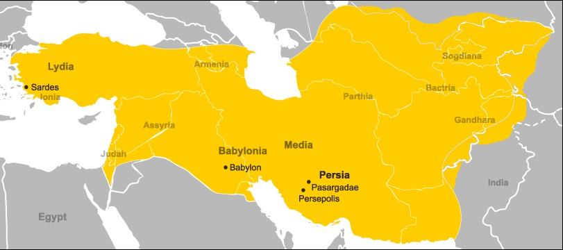 キュロス2世戦没時のアケメネス朝領土 出典:同ウィキペディア